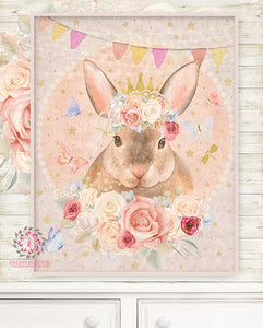 Lexington Bunny Rabbit Baby Woodland Nursery Wall Art Print Boho Ethereal Gold Crown Shabby Chic Bohemian Blush Room Kids Bedroom Home Limited Edition Decor