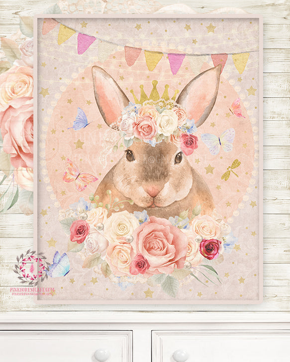 Ethereal Bunny Rabbit Baby Woodland Nursery Wall Art Print Boho Shabby Chic Bohemian Blush Room Kids Bedroom Printable Home Limited Edition Decor