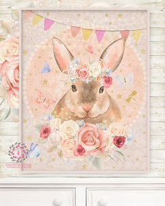Lexington Bunny Rabbit Baby Woodland Nursery Wall Art Print Boho Ethereal Shabby Chic Bohemian Blush Room Kids Bedroom Home Limited Edition Decor
