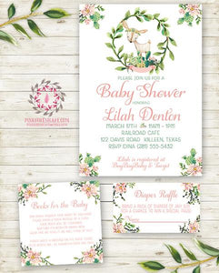 Cactus Succulent Woodland Deer Invite Invitation Baby Shower Diaper Raffle Book Cards Thank You Note Boho Floral Watercolor Birthday Party Printable