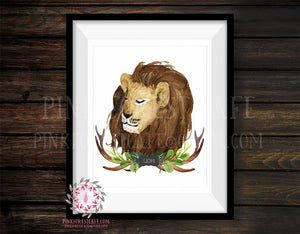 Lion Tribal Antlers Rustic Woodland Safari Zoo Animal Nursery Printable Wall Art Print Watercolor Baby Boy Cabin Home Decor
