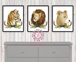 Lion Tiger Bear Tribal Antlers Rustic Woodland Safari Zoo Animals Printable Wall Art Watercolor Print Baby Boy Nursery Cabin Home Decor
