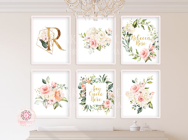 6 Boho Baby Monogram Initial Personalized Wall Art Print Initials Gold Blush Cream Pink Mint Watercolor Floral Girl Nursery Printable Decor