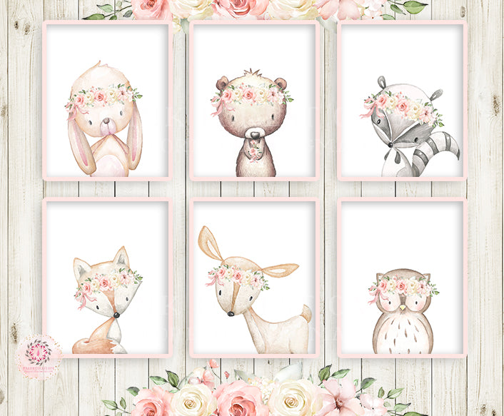 6 Deer Fox Bunny Bear Boho Wall Art Print Woodland Cream Pink Blush Bohemian Floral Nursery Baby Girl Room Raccoon Owl Set Lot Prints Printable Decor