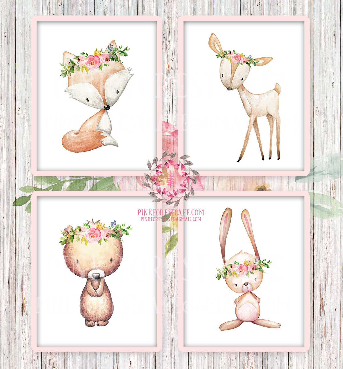 4 Deer Fox Bunny Rabbit Bear Woodland Boho Bohemian Floral Nursery Baby Girl Room Set Lot Prints Printable Print Wall Art Home Decor