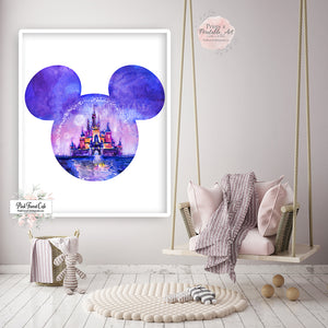 Minnie Mouse Magic Kingdom Disney Wall Art Print Boho Nursery Baby Girl Watercolor Room Printable Décor