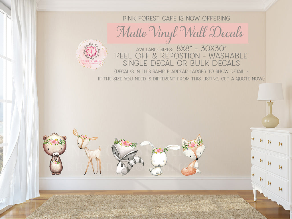 Boho Woodland Bear Bunny Deer Fox Wall Decal Baby Nursery Floral Raccoon Sticker Art Decor