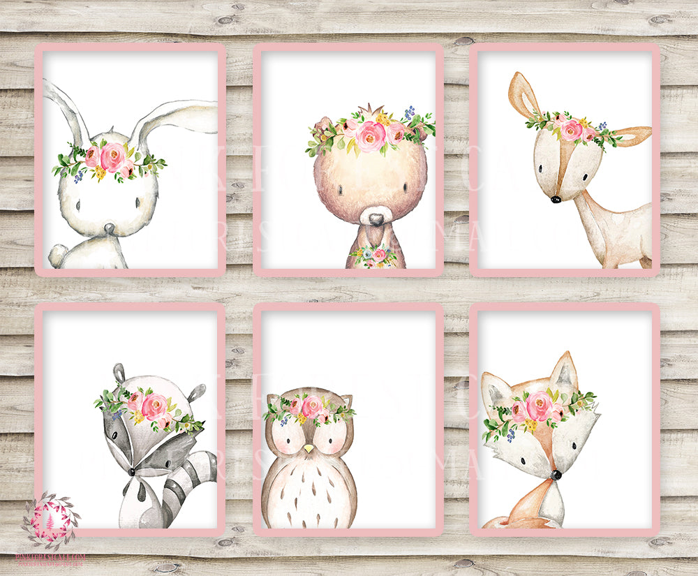 Boho Bunny Bear Deer Fox Nursery Wall Art Woodland Prints Bohemian Floral Baby Room Raccoon Owl Home Decor Print Set Of 6