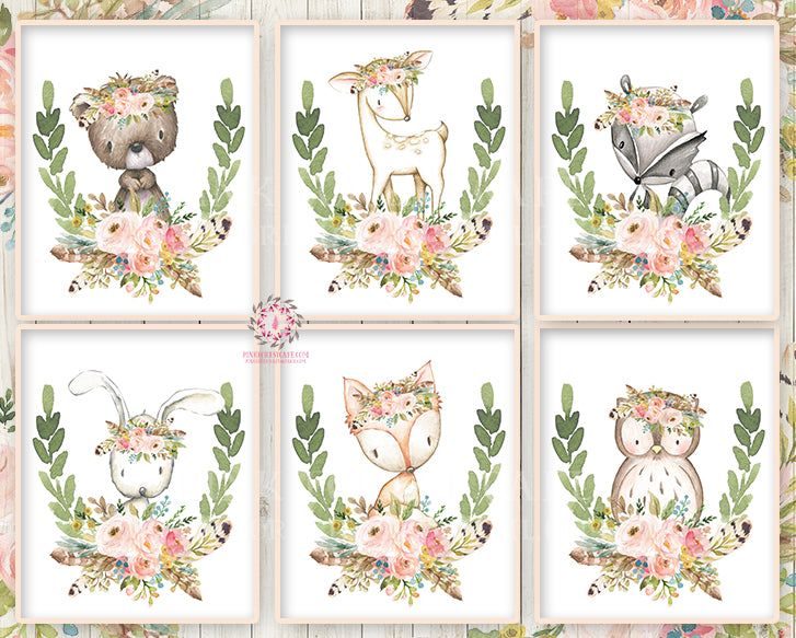 Bunny Bear Deer Fox Woodland Boho Wall Art Print Bohemian Feather Floral Nursery Baby Girl Room Lot Set 6 Prints Printable Home Decor