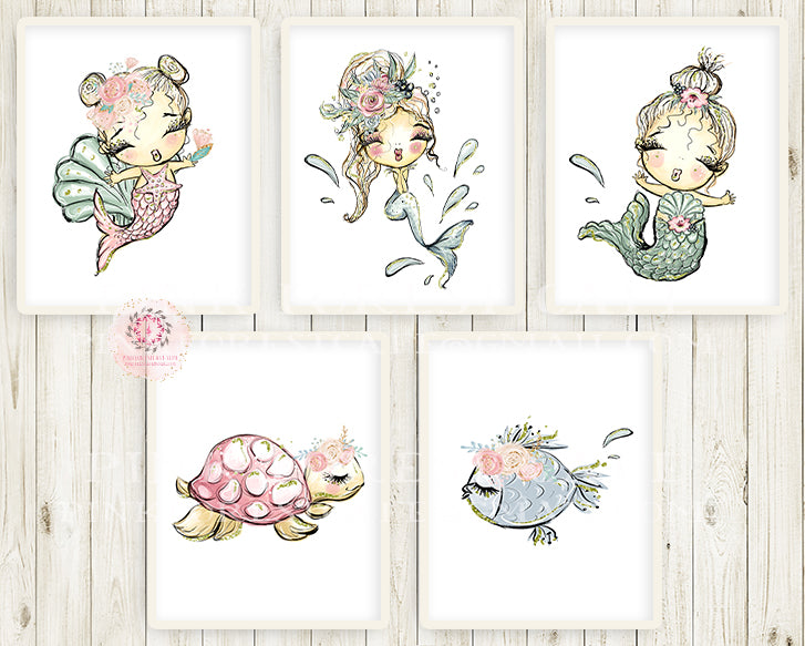 5 Mermaid Turtle Fish Nursery Wall Art Print Ethereal Under The Sea Whimsical Bohemian Floral Baby Girl Printable Decor