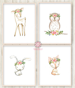 Bunny Rabbit Deer Fox Owl Nursery Wall Art Prints Woodland Boho Bohemian Floral Girls Baby Pink Purple Mint Kids Room Bedroom Decor Print Set Of 4