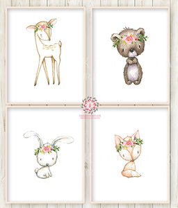 4 Deer Fox Bunny Rabbit Bear Boho Wall Art Print Woodland Bohemian Floral Nursery Baby Girl Room Set Lot Prints Printable Decor