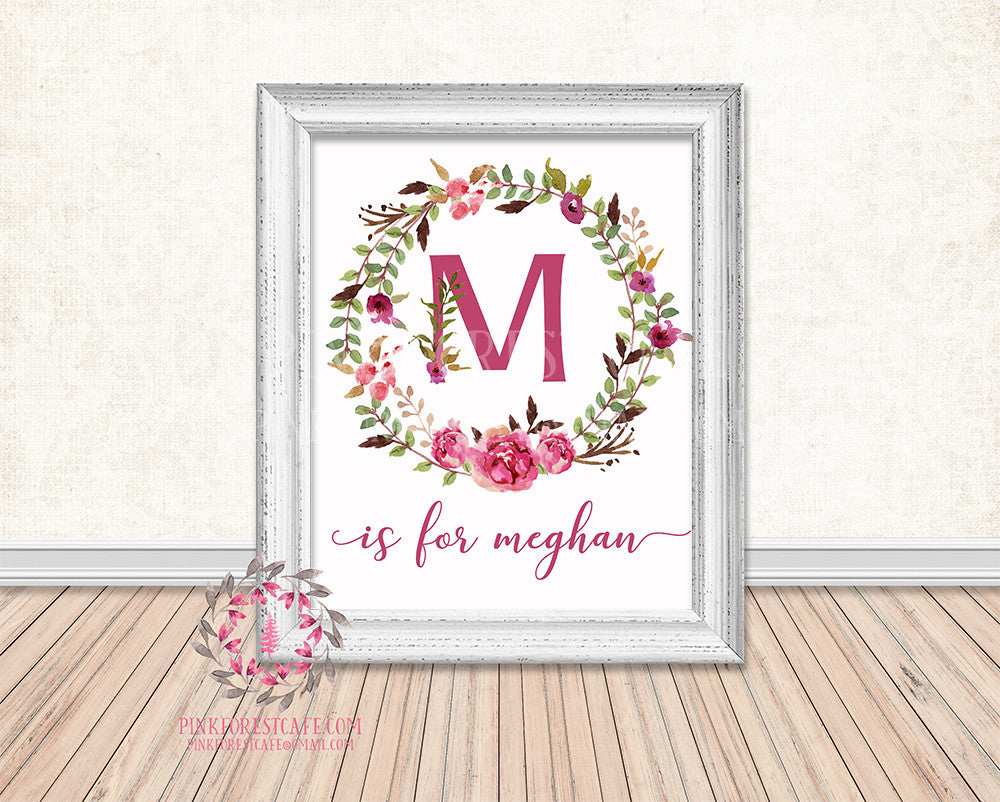 Baby Name Monogram Initial Personalized Birth Announcement Gift Watercolor Woodland Watercolor Floral Rustic Baby Nursery Home Decor Printable Wall Art
