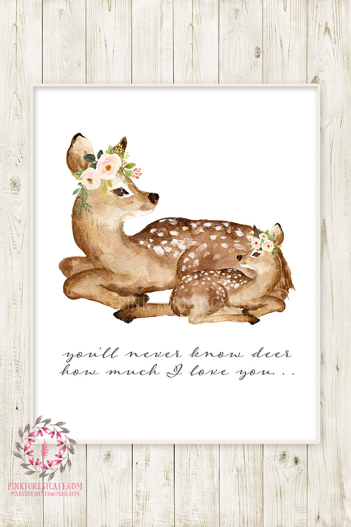 You Are My Sunshine Boho Deer Wall Art Print Fawn Woodland Floral Nursery Baby Girl Room Bohemian Printable Watercolor Decor