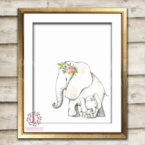 Elephant Boho Watercolor Bohemian Mama Baby Zoo Animal Safari Nursery Kids Baby Room Playroom Print Printable Wall Poster Art Home Decor
