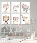 6 Boho Fox Deer Bear Mandala Wall Art Print Woodland Nursery Baby Girl Room Blush Floral Bunny Raccoon Owl Bohemian Watercolor Set Prints Printable Decor