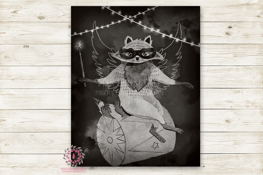 "Monochrome Fox Nursery Wall Art Print Ethereal Amusement Park Woodland Black White Circus Rustic  ""Harry Fox"" Superhero Printable Watercolor Mystery Fantasy Magical Carnival Decor"