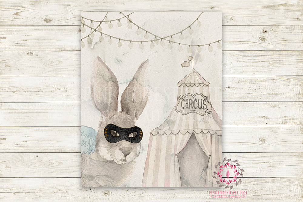 "Ethereal Woodland Boho Bunny Nursery Wall Art Print Baby Girl Boy Rustic Circus  ""Master Jake"" Printable Watercolor Mystery Fantasy Magical Amusement Park Carnival Decor"