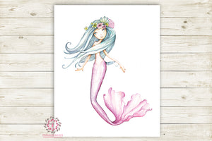 Boho Mermaid Nursery Wall Art Print Ethereal Printable Watercolor Mystery Fantasy Magical Decor
