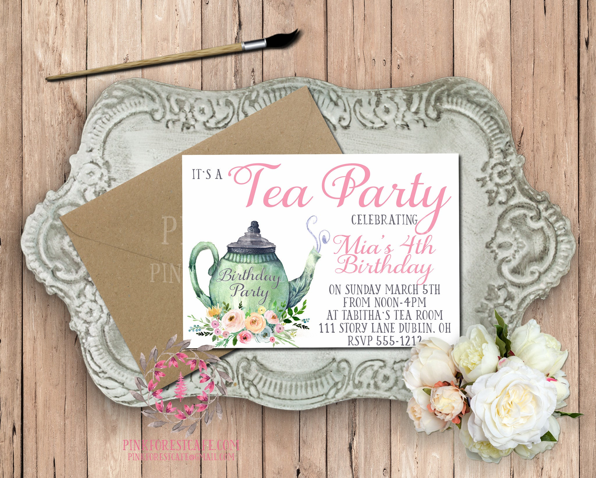 Tea Party Pot Girls Birthday Party Baby Bridal Shower Printable Invitation Invite