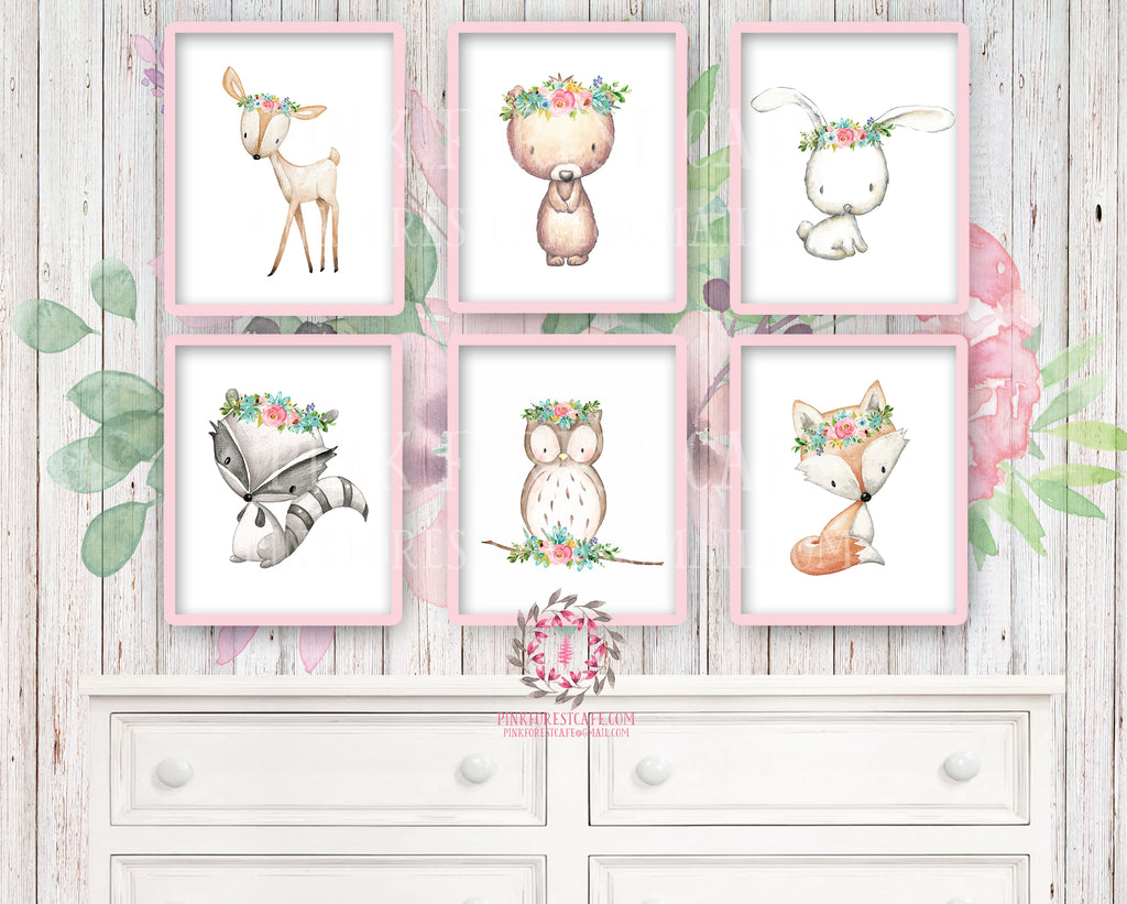 6 Deer Fox Bunny Rabbit Bear Owl Raccoon Boho Printable Print Wall Art Woodland Mint Pink Aqua Bohemian Floral Nursery Baby Girl Room Set Lot Prints Decor