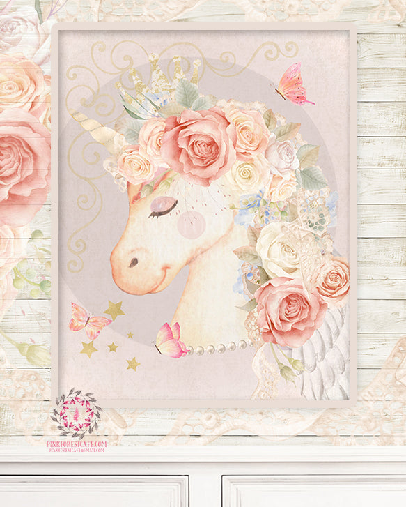 Ethereal Unicorn Baby Girl Nursery Wall Art Print Boho Shabby Chic Bohemian Blush Kids Bedroom Room Limited Edition Printable Decor