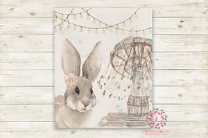 "Boho Bunny Monochrome Nursery Wall Art Print Baby Girl Ethereal Woodland Rustic Swing  ""Miss Pennywise"" Printable Watercolor Mystery Fantasy Magical Amusement Park Carnival Decor"