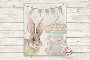 "Ethereal Woodland Boho Bunny Nursery Wall Art Print Baby Girl Carousel Horses Rustic ""Miss Potter"" Printable Watercolor Mystery Fantasy Magical Circus Amusement Park Carnival Decor"