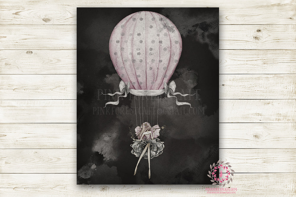 "Hot Air Balloon Fairy Monochrome Nursery Wall Art Print Ethereal "" Miss Rhiannon"" Printable Watercolor Mystery Fantasy Magical Decor"