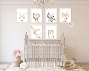 6 Deer Fox Bunny Rabbit Bear Boho Wall Art Print Woodland Bohemian Floral Nursery Owl Raccoon Blush Ivory Pink Baby Girl Room Set Lot Prints Printable Decor