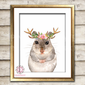 Boho Woodmouse Field Mouse Antlers Bohemian Blush Floral Woodland WoodNursery Baby Girl Room Printable Print Wall Art Decor