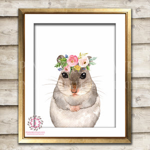 Boho Woodmouse Field Mouse Bohemian Blush Floral Wood Woodland Nursery Baby Girl Room Printable Print Wall Art Decor