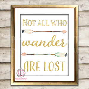 All Who Wander Are Not Lost Adventure Gold Boho Tribal Arrow Nursery Baby Girl Room Printable Print Wall Decor