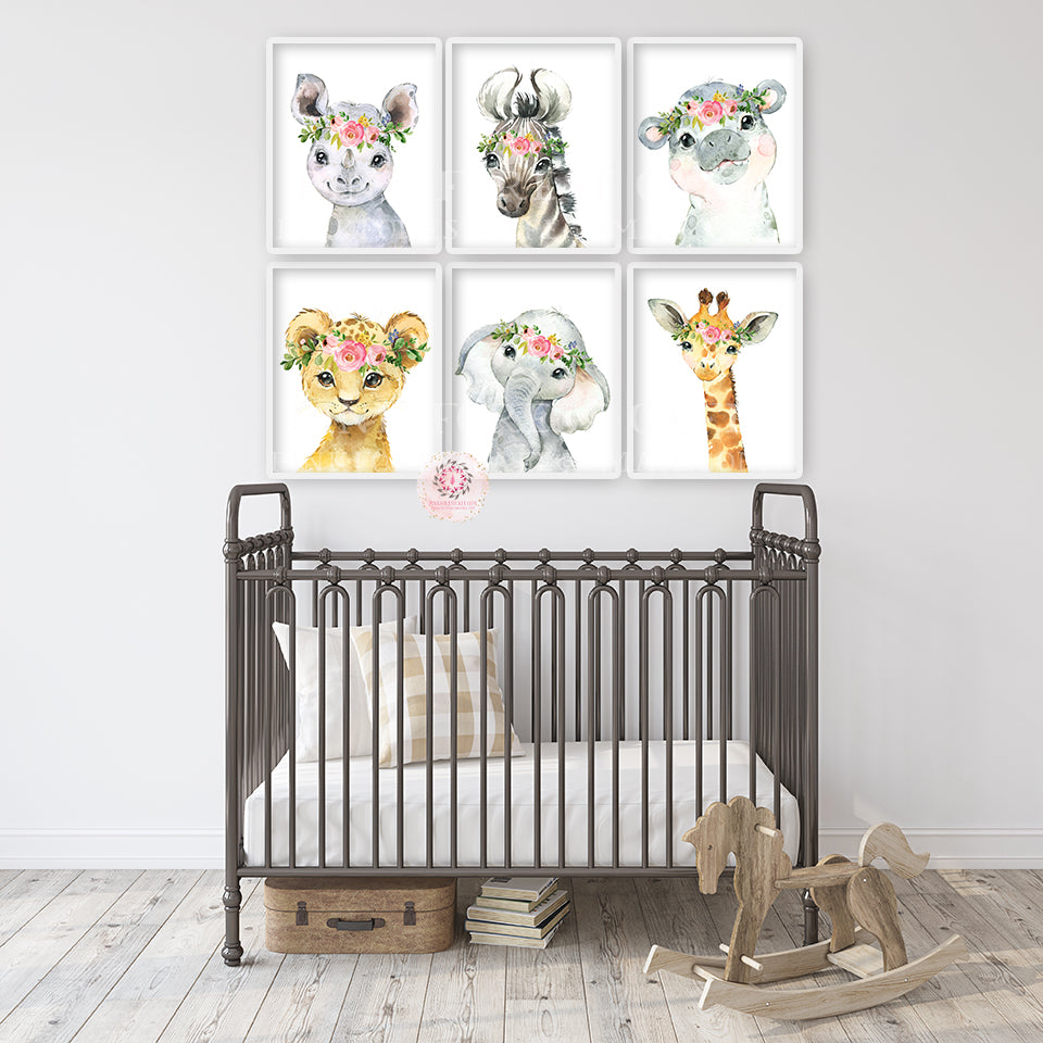 6 Boho Elephant Rhino Wall Art Print Nursery Baby Girl Room Floral Bohemian Zebra Giraffe Hippo Watercolor Set Prints Printable Decor