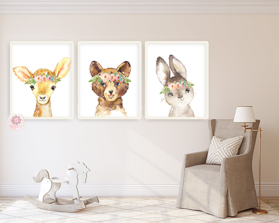 3 Boho Deer Bunny Bear Wall Art Print Woodland Nursery Baby Girl Room Blush Floral Bohemian Watercolor Set Prints Printable Decor