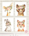 4 Boho Fox Bear Deer Bunny Wall Art Print Woodland Feather Nursery Baby Girl Room Blush Floral Bohemian Watercolor Set Prints Printable Decor
