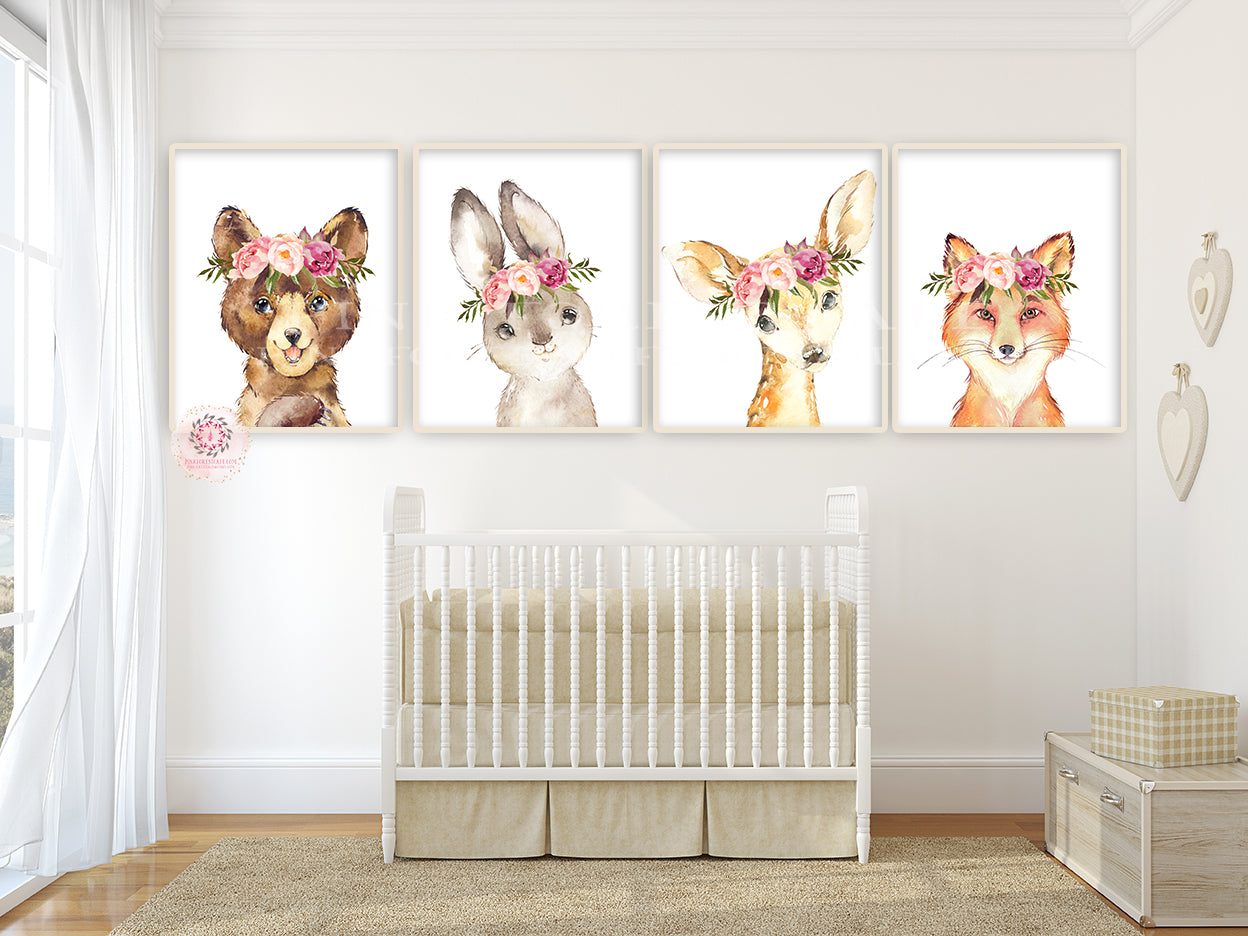 4 Boho Bear Deer Bunny Fox Peony Wall Art Print Woodland Nursery Baby Girl Room Peonies Floral Bohemian Watercolor Set Prints Printable Decor