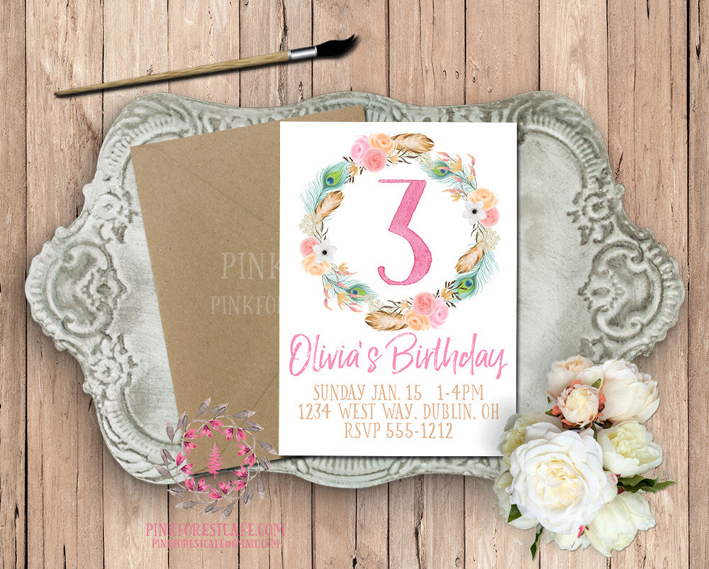 1st 2nd 3rd 4th 5th Watercolor Boho Floral Birthday Party Printable Invite Invitation Baby Shower Invites