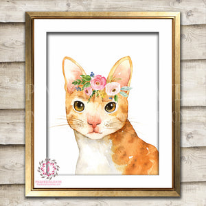 Boho Orange Watercolor Tabby Cat Bohemian Blush Floral Nursery Baby Girl Room Printable Print Wall Art Decor