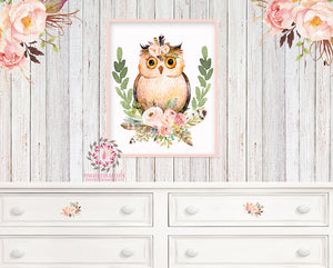 Owl Tribal Boho Woodland Deer Printable Wall Art Print Feather Woodland Baby Girl Nursery Decor