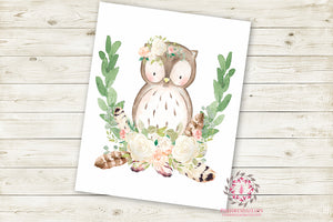 Owl Woodland Boho Wall Art Print Blush Feather Baby Girl Nursery Bohemian Floral Girl Room Printable Decor
