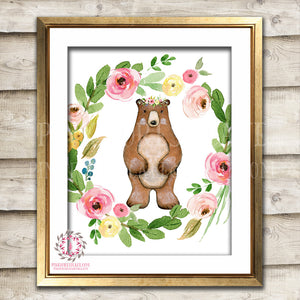 Bear Woodland Boho Printable Wall Art Print Bohemian Garden Floral Nursery Baby Girl Room Playroom Decor
