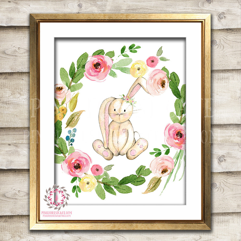 Bunny Rabbit Woodland Boho Printable Wall Art Print Bohemian Garden Floral Nursery Baby Girl Room Playroom Decor