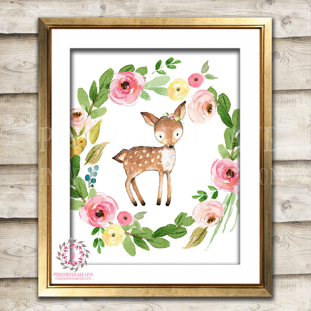 Deer Woodland Boho Printable Wall Art Print Bohemian Garden Floral Nursery Baby Girl Room Playroom Decor