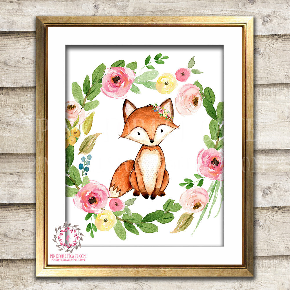 Fox Woodland Boho Printable Wall Art Print Bohemian Garden Floral Nursery Baby Girl Room Playroom Decor