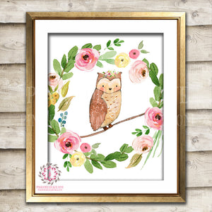 Wise Owl Woodland Boho Printable Wall Art Print Bohemian Garden Floral Nursery Baby Girl Room Playroom Decor