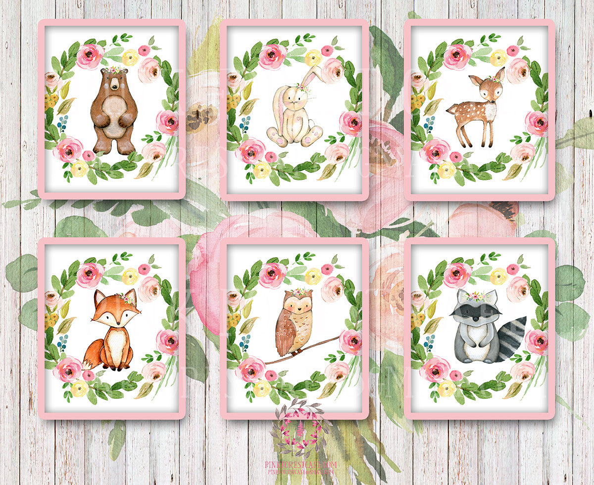 Bear Bunny Deer Fox Owl Raccoon Woodland Boho Bohemian Garden Floral Nursery Baby Girl Room Playroom Set Lot 6 Prints Printable Print Wall Art Home Decor