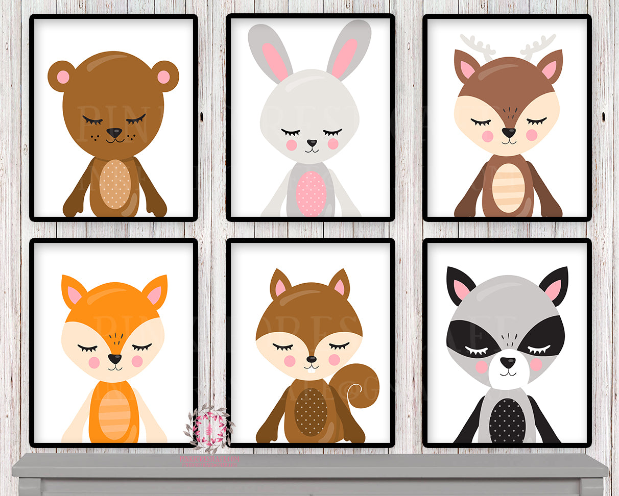 SALE 6 Deer Fox Bunny Wall Art Woodland Scandinavian Rabbit Bear Raccoon Boho Nursery Baby Room Set Lot Prints Printable Print Decor