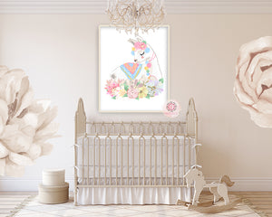 Baby Girl Nursery Wall Decorations ethereal llama baby girl nursery wall art print boho alpaca floral