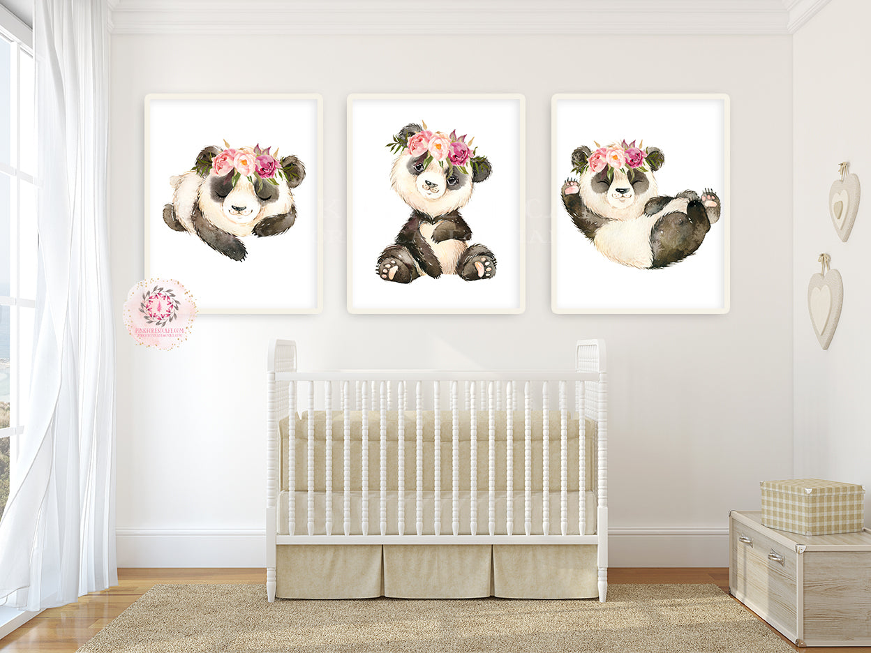 3 Boho Panda Bear Wall Art Print Peonies Nursery Baby Girl Room Blush Floral Peony Bohemian Watercolor Set Prints Printable Decor